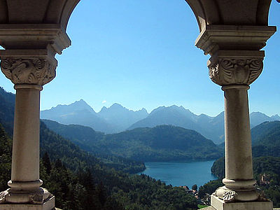 view from castle Neuschwanstein on the Alps