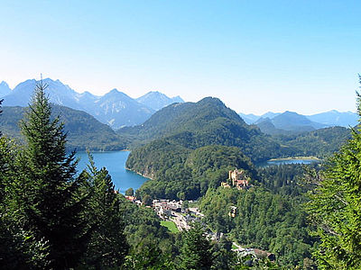 view on castle Hohenschwangau from castle Neuschwanstein